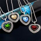 Pretty Heart Shaped Colorful Austrian Crystal Jewelry Set Necklace Earrings