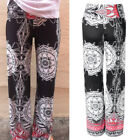 Casual Ladies Womens Palazzo High Waisted Print Loose Wide Leg Pants Trousers
