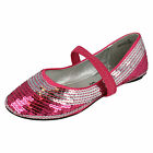 GIRLS CUTIE QT FUSHSIA/SILVER FLAT PARTY SHOES WITH SEQUINS STYLE: H2200