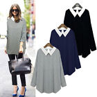 New Womens Loose Long Sleeve Cotton Casual Blouse Shirt Tops T-shirt Plus Size