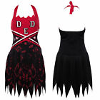 Travestimento Cheerleader Costume Donna Bambina Cadavere Zombie Halloween Rosso