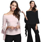 Womens One Off Shoulder Casual Flared Sleeve Tops Loose Blouse Ladies T Shirt