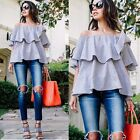 Sexy Women Off Shoulder Slash Neck Ruffles Solid Casual Blouse Tops