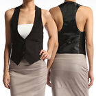 TheMogan Women's Tuxedo Dress Vest Waistcoat Sleeveless Sati