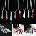 Top Natural Quartz Crystal Stone Point Chakra Healing Gemstone Pendant Necklace