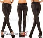 Ladies Womens Jeans Skinny Slim Stretch Wet Leather Look Black Size 8 10 12 14