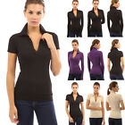 Womens V Neck Short Sleeve Polo Shirt Slim Fit Casual Shirts Tops Blouses