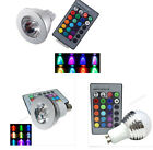 E14/GU10 85V-265V 12V MR16 3W 16 Color Change RGB LED SpotLight Bulb Remote Lamp