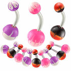acrylic ball painted belly ring navel piercing bar button 9ICN-PICK STYLE&SIZE