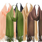 Premium Pashmina Scarf Solid Colour Wrap Stole Soft Long Shawl With Tassels