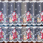 """Cafe Net Curtain Christmas Santa Pattern 19.5"""" and 27.5"""" Drop SOLD BY THE METRE"""