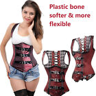 New Arrival Steampunk Lace up Cool Bustier TOP Corset Underbust Deep Red Size AU