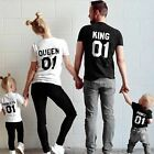 Couple T-Shirt King 01 and Queen 01 Love Matching Shirts Family Clothes Tee Tops