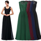 NEW Sleeveless V-Neck Lace and Chiffon Formal Evening Ball Gown Prom Party Dress