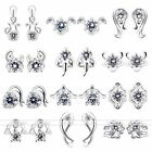 Pair Silver Plated 12 Constellation Crystal Rhinestone Ear Stud Earrings Jewelry