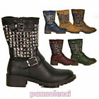 boots biker motorcyclist studs silver studded boots metal studs LILY-38