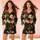 Women Fashion Flare Sleeve V-Neck Mini Black Party Chiffon Floral Printed Dress