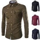 Stylish Men's Button Casual Dress Slim Fit Tee T-Shirts Long Sleeve Dress Shirts