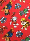 PAW PATROL on red : 100% LICENSED cotton  :  by the 1/2 metre