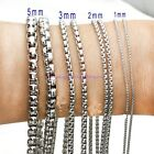 """Hot 1/2/3/4/5/7MM Silver Stainless Steel Men/Women's Box Chain Necklace 16""""-40"""""""