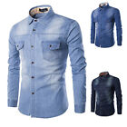 Fashion Mens Long Sleeve Denim Shirt Casual Slim Fit Stylish Dress Shirts Tops