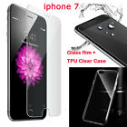 For iPhone 7 /7 Plus Tempered Glass Screen Protector Film&Crystal TPU Case Cover