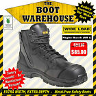 Wide Load Safety Work Boots, 'NIGHT HAWK' (NH1). Extra Wide. Zip Side.