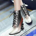 Women Lady Pearl Leather Ankle Boots Lace Up High Heels Punk Party Shoes Size