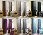 Crushed Velvet Soft Touch New Pair Of Eyelet Curtains With Self Coloured Lining
