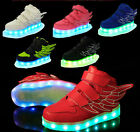 Kids Boy Girls LED Light up Lace Up Angle Wing Velcro Casual Sneakers High Shoes