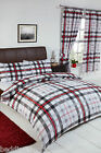 STANFORD BLACK GREY RED WHITE TARTAN CHEVRON CHECK MODERN BEDDING OR CURTAINS