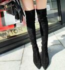 New Women suede pointed toe over the knee boot chunky heel shoes Size Hot