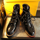 Punk Women Lady Low Heel Lace Up Ankle Boots Shoes Patent Leather Metal Size New