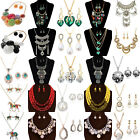 Women's 2Pcs Crystal Bid Chain Choker Chunky Necklace Earrings Jewelry Set
