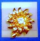 Classy NEW Gold Tone Contemporary Signed  EISENBERG ICE Rhinestone Floral Pin