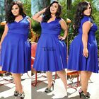 Women Retro Cap Sleeve High Waist Solid Slim Swing Dress Plus Size TXWD