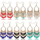 1 Pair Multi-color Women Girl Bead droplet Tassel Ear Hook Gift Dangle Earrings