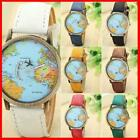 World Map Globe Moving Aeroplane Airplane Watch Leather Globe Traveller Travel