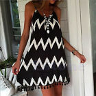 Women Summer Casual Sleeveless Grid Evening Beach Dress Short Mini Party Dress