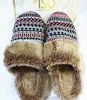Womens ISOTONER plush slip on mule slippers~Faux fur~Knit~Rubber soles NWT