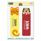 Set of 2 Glossy Laminated Cat and Dog Bookmarks - Names Male Wa-Wy