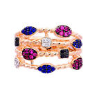 Rose Gold Plated Sterling Silver Multi Color Rope Women's Jewelry Wedding Ring