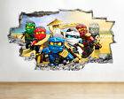 H986 Lego Ninjago Toys Tv Kids Smashed Wall Decal 3d Art Stickers Vinyl Room