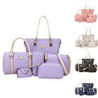 6PCS Womens Fashion Leather Tote Handbag Shoulder Bag Satchel Purse Wallet New