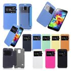 Window View Flip Leather Hard Clear Back Cover Case for Samsung Galaxy S5