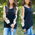 Women's Loose LACE Long Sleeve Casual Black Shirt Tops Fashion Blouse