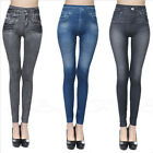 Womens Girls Fashion Skinny Leggings Imitation Denim Jeans Slim Fit Pants S-2XL