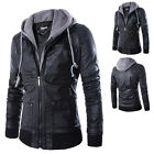 Occident Mens Slim Motorcycle Hooded Warm Faux Leather Jacket Overcoat Tops New