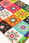 Funky Cotton Linen Fabric Colourful Patchwork Style Tulip Flowers Red Green