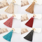 Leather tassel fringe crystal diamante key chain handbag car keyring pendant